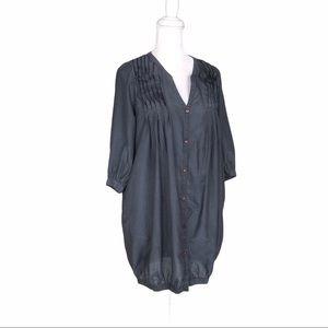 Maje gray cotton/silk bubble tunic mini dress top